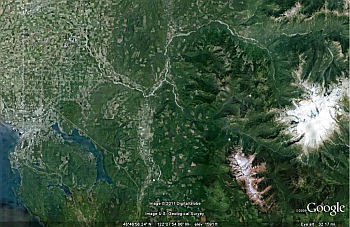 Bellingham to MtBaker NASA Satellite image